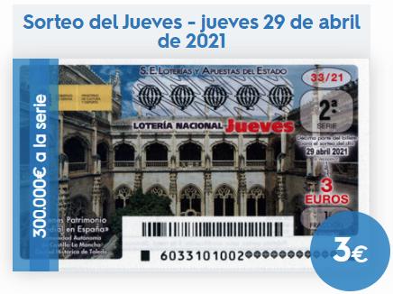 Loteria nacional sorteo del jueves 29 de abril 2021
